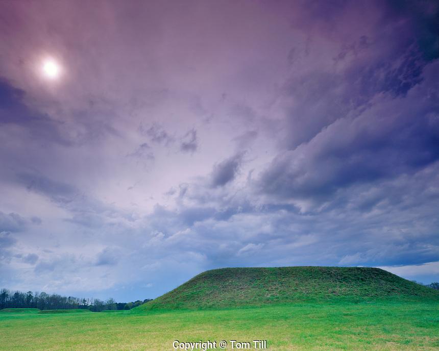 Mound & Approaching storm, Moundville Archaeological Park, Moundville, Alabama