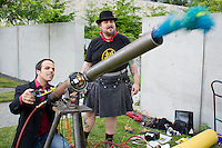Aundrey fires an air cannon at SAM Party In The Park at the Olympic Sculpture Park in Seattle, Washington on Friday, Jun. 17, 2011.