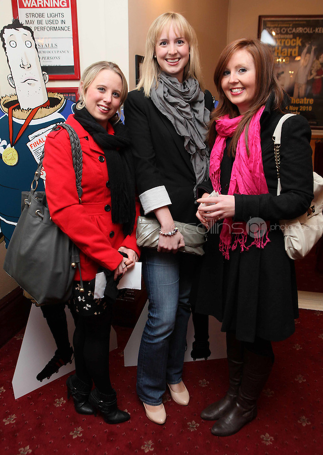 NO FFE. 19/10/2010. Ross O'Carroll Kelly play Between Foxrock and A Hard Place. Rhona Dineen, Zoe Kearns and Polly Donnelly are pictured at the Olympia Theatre for the opening night of the new Ross O'Carroll Kelly new play Between Foxrock and A Hard Place. Picture James Horan/Collins