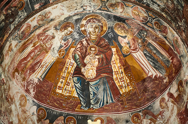 Picture & image the interior apse medieval frescoes of Theotokos, depicting the Virgin Mary, the Mother of God, and child, Khobi Georgian Orthodox Cathedral, 13th century,  Khobi Monastery, Khobi, Georgia.