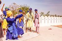 Asia,India,Punjab, Anandpur Sahib, sikh pilgrim archer with his turban to the Holla Mohalla annual festival