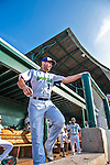 8 July 2015: Vermont Lake Monsters infielder Chris Iriart steps out of the dugout prior to a game against the Mahoning Valley Scrappers at Centennial Field in Burlington, Vermont. The Lake Monsters defeated the Scrappers 9-4 to open the home game series of NY Penn League action. Mandatory Credit: Ed Wolfstein Photo *** RAW Image File Available ****