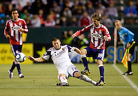 Real Salt Lake defender Chris Wingert (17) battles with Chivas USA forward Blair Gavin (18). Real Salt Lake defeated CD Chivas USA 2-1at Home Depot Center stadium in Carson, California on Saturday May 22, 2010.  .