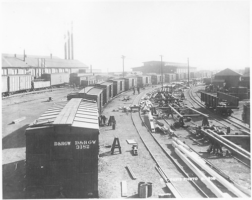 Rebuilding D&amp;RGW box cars at Alamosa in 1924.  An assembly-line operation is depicted.  See also RD019-063 for a companion photo.<br /> D&amp;RGW  Alamosa, CO  Taken by Davis, O. T. - 1924