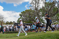 Tommy Fleetwood (ENG) and Keegan Bradley (USA) head down 2 during round 3 of the Arnold Palmer Invitational at Bay Hill Golf Club, Bay Hill, Florida. 3/9/2019.<br /> Picture: Golffile | Ken Murray<br /> <br /> <br /> All photo usage must carry mandatory copyright credit (© Golffile | Ken Murray)