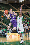 Stephen F. Austin Lumberjacks guard/forward Connor Brooks (31) and North Texas Mean Green guard T.J. Taylor (21) in action during the game between the Stephen F. Austin Lumberjacks and the North Texas Mean Green at the Super Pit arena in Denton, Texas. SFA defeats UNT 87 to 53.