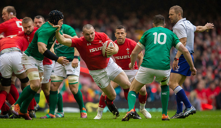 Wales' Ken Owens in action during todays match<br /> <br /> Photographer Bob Bradford/CameraSport<br /> <br /> Guinness Six Nations Championship - Wales v Ireland - Saturday 16th March 2019 - Principality Stadium - Cardiff<br /> <br /> World Copyright © 2019 CameraSport. All rights reserved. 43 Linden Ave. Countesthorpe. Leicester. England. LE8 5PG - Tel: +44 (0) 116 277 4147 - admin@camerasport.com - www.camerasport.com