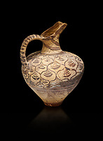 "Minoan decorated jug  with stylised floral design , Konssos  'Unexplored Mansion"" 1450-1370 BC; 1400-1250 BC; Heraklion Archaeological  Museum, black background"