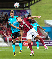 Fleetwood Town's George Glendon competing with Northampton Town's Billy Waters <br /> <br /> Photographer Andrew Kearns/CameraSport<br /> <br /> The EFL Sky Bet League One - Northampton Town v Fleetwood Town - Saturday August 12th 2017 - Sixfields Stadium - Northampton<br /> <br /> World Copyright &copy; 2017 CameraSport. All rights reserved. 43 Linden Ave. Countesthorpe. Leicester. England. LE8 5PG - Tel: +44 (0) 116 277 4147 - admin@camerasport.com - www.camerasport.com
