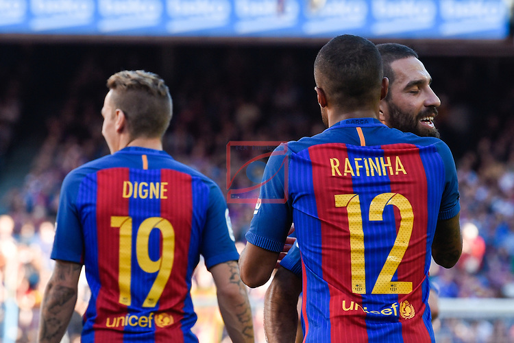 League Santander 2016/2017. Game: 8.<br /> FC Barcelona vs Deportivo: 4-0.<br /> Lucas Digne, Rafinha &amp; Arda Turan.