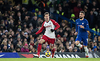 Grzegorz Krychowiak of WBA moves from Olivier Giroud of Chelsea during the Premier League match between Chelsea and West Bromwich Albion at Stamford Bridge, London, England on 12 February 2018. Photo by Andy Rowland.