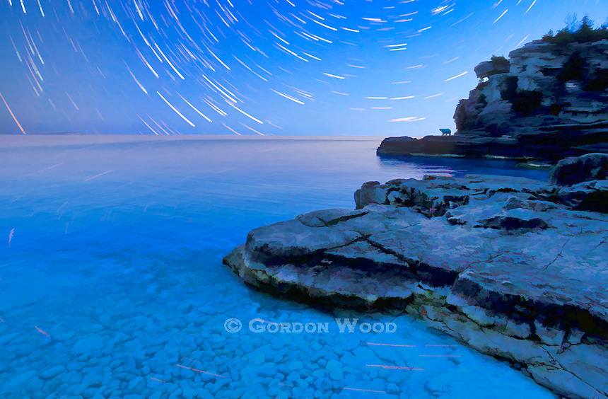 Painterly composite of Bruce Peninsula Grotto and star trails.