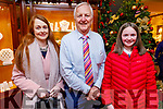 Billy Nolan with Aine Culloty (Castleisland) and Rachel Prenderville (Tralee) at Nolan/Hilsers Jewellers on Friday night,