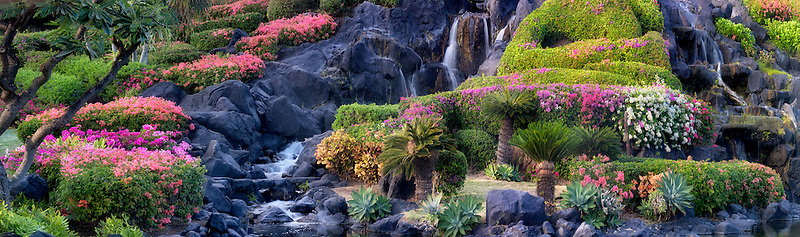 Garden with waterfalls in Kauai, Hawaii.