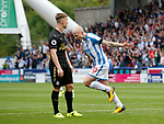 Aaron Mooy of Huddersfield Town celebrates his winning goal during the premier league match at the John Smith's Stadium, Huddersfield. Picture date 20th August 2017. Picture credit should read: Simon Bellis/Sportimage