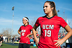 KANSAS CITY, MO - DECEMBER 02: Gianna Palmentere (19) and Abby Rhodes (10) of the University of Central Missouri look onto the field prior to the start of the Division II Women's Soccer Championship held at the Swope Soccer Village on December 2, 2017 in Kansas City, Missouri. (Photo by Doug Stroud/NCAA Photos/NCAA Photos via Getty Images)
