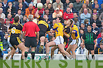 Ambrose O'Donovan (Dr Crokes) gets to the ball ahead of Anthony Mather (Feale Rangers) in their County Championship Semi-final at Austin Stack park on Sunday.