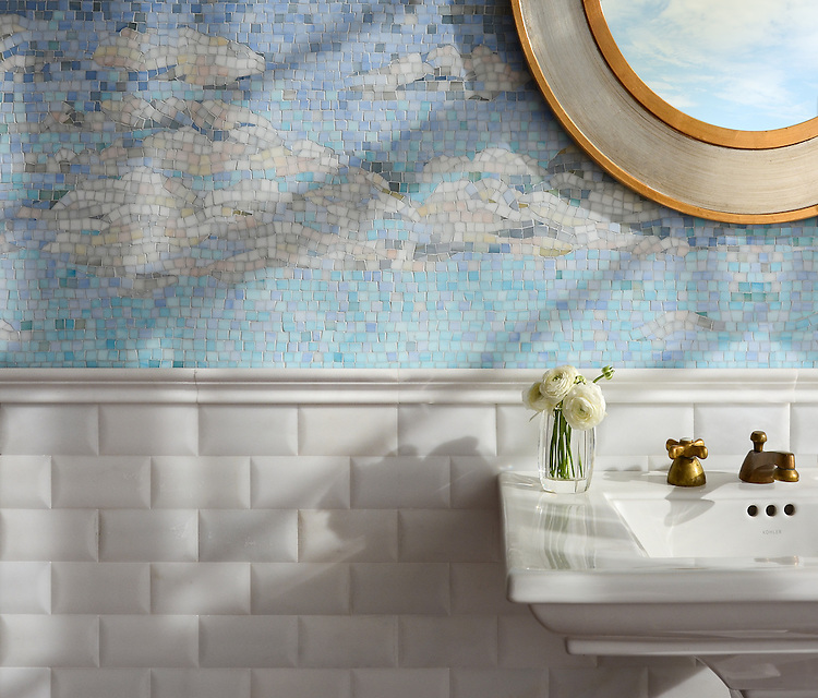 Clouds, a handmade mosaic shown in Absolute White, Moonstone, Opal, Pearl, Amazonite, Covelite, Quartz, Chalcedony, Champagne, Alabaster, and Aquamarine Sea Glass™, is part of the Sea Glass™ collection by New Ravenna.