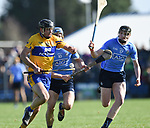 Cathal Malone of Clare in action against Rian Mc Bride and Cian Mac Gabhann of Dublin during their National Hurling League game at Cusack Park. Photograph by John Kelly.