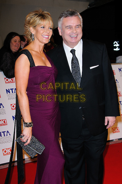 Ruth Langsford and Eamonn Holmes.arrivals at The National Television Awards, O2 Greenwich, London, England. 25th January 2012.NTA NTAS half length dress black suit purple married husband wife.CAP/CJ.©Chris Joseph/Capital Pictures.