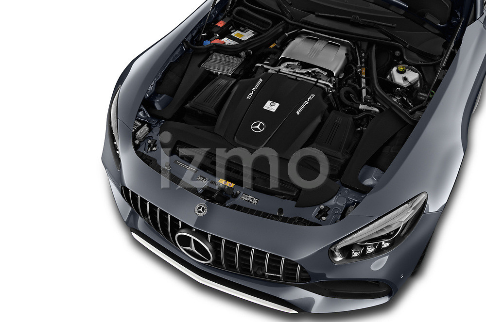 Car stock 2018 Mercedes Benz AMG GT base 2 Door Roadster engine high angle detail view
