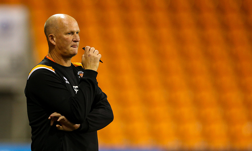 Blackpool manager Simon Grayson watches on<br /> <br /> Photographer Alex Dodd/CameraSport<br /> <br /> EFL Leasing.com Trophy - Northern Section - Group G - Blackpool v Morecambe - Tuesday 3rd September 2019 - Bloomfield Road - Blackpool<br />  <br /> World Copyright © 2018 CameraSport. All rights reserved. 43 Linden Ave. Countesthorpe. Leicester. England. LE8 5PG - Tel: +44 (0) 116 277 4147 - admin@camerasport.com - www.camerasport.com