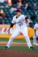 Zach Merciez (33) of the Missouri State Bears delivers a pitch during a game against the Southern Illinois University- Edwardsville Cougars at Hammons Field on March 9, 2012 in Springfield, Missouri. (David Welker / Four Seam Images)