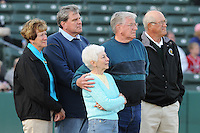 April 9, 2009: Family and friends of Bruce Dal Canton, including Helene Dal Canton, widow of the longtime pitching coach for the Pelicans, watche a ceremony honoring the coach in pregame ceremonies  at BB&T Coastal Field in Myrtle Beach, S.C. Dal Canton died last year of cancer. Photo by:  Tom Priddy/Four Seam Images