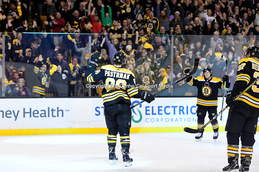 April 14, 2018: Boston Bruins right wing David Pastrnak (88) celebrates a goal during game two of the first round of the National Hockey League's Eastern Conference Stanley Cup playoffs between the Toronto Maple Leafs and the Boston Bruins held at TD Garden, in Boston, Mass. Boston defeats Toronto 7-3. Eric Canha/CSM