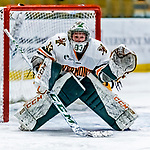 1 December 2018: University of Vermont Catamount Goaltender Melissa Black, a Senior from Newmarket, Ontario, in third period action against the University of Maine Black Bears at Gutterson Fieldhouse in Burlington, Vermont. The Lady Cats defeated the Lady Bears 3-2 in the second game of their 2-game Hockey East series. Mandatory Credit: Ed Wolfstein Photo *** RAW (NEF) Image File Available ***