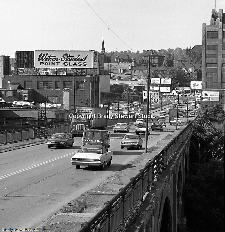 Pittsburgh PA:  View of the North Side of Pittsburgh from the Manchester Bridge.  Construction started in 1911 after the existing bridge was damage by a flood. Open for business in 1915 and took traffic from the Point to North Side for 54 years.  The bridge was taken down in 1970.