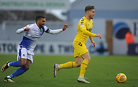 Fleetwood Town's Conor McAleny under pressure from Bristol Rovers' Tareiq Holmes-Dennis<br /> <br /> Photographer Kevin Barnes/CameraSport<br /> <br /> The EFL Sky Bet League One - Bristol Rovers v Fleetwood Town - Saturday 22nd December 2018 - Memorial Stadium - Bristol<br /> <br /> World Copyright &copy; 2018 CameraSport. All rights reserved. 43 Linden Ave. Countesthorpe. Leicester. England. LE8 5PG - Tel: +44 (0) 116 277 4147 - admin@camerasport.com - www.camerasport.com