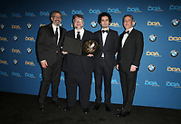 BEVERLY HILLS, CA - FEBRUARY 3: Thomas Schlamme, Guillermo del Toro, Damien Chazelle and Russell Hollander in the press room at the 70th Annual DGA Awards at The Beverly Hilton Hotel in Beverly Hills, California on February 3, 2018. <br /> CAP/MPI/FS<br /> &copy;FS/MPI/Capital Pictures