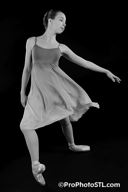 Missouri Ballet Theater studio shots in B&W with orange filter