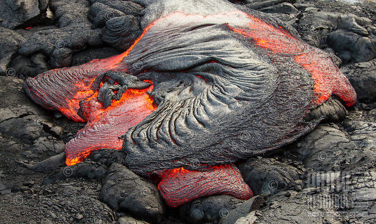 Coalescing lava at Hawai'i Volcanoes National Park, Big Island.