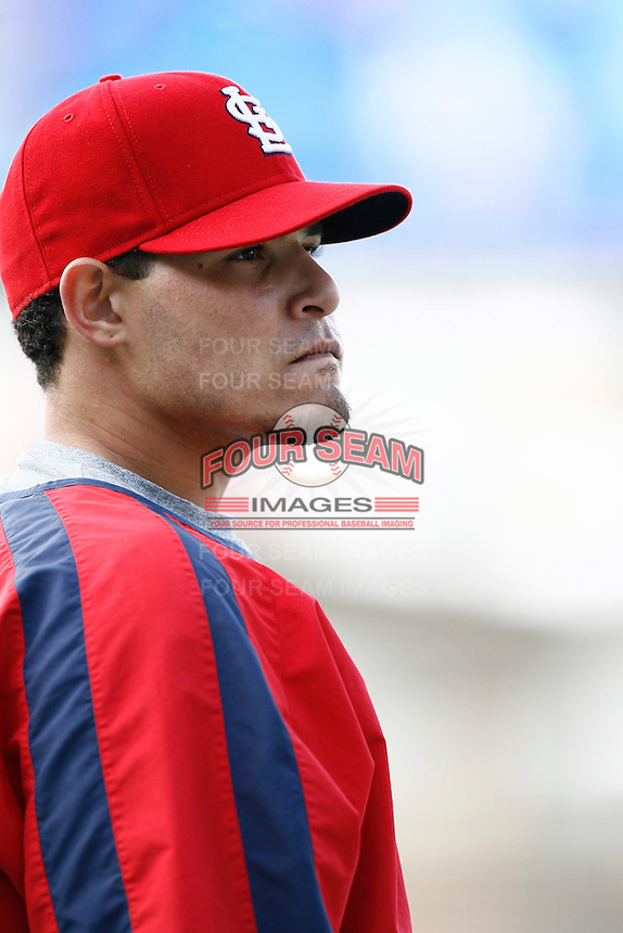 Yadier Molina of the St. Louis Cardinals during batting practice before a game from the 2007 season at Dodger Stadium in Los Angeles, California. (Larry Goren/Four Seam Images)