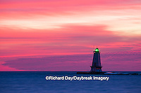 64795-01012 Ludington North Pierhead Lighthouse at sunset on Lake Michigan, Mason County, Ludington, MI