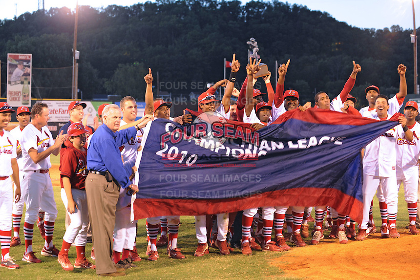 Johnson City Cardinals pose with Appalachian League Championship Trophy and League President after defeating the Elizabethton Twins 6-2 at Howard Johnson Field, Johnson City Tennessee.
