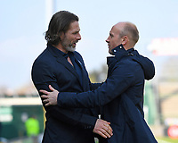 Wycombe Wanderers Manager Gareth Ainsworth left and Yeovil Town Manager Darren Way greet each other during Yeovil Town vs Wycombe Wanderers, Sky Bet EFL League 2 Football at Huish Park on 14th April 2018