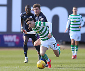17th March 2019, Dens Park, Dundee, Scotland; Ladbrokes Premiership football, Dundee versus Celtic; Ethan Robson of Dundee trips Mikey Johnston of Celtic