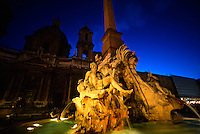 Fountain of the Four Rivers (Church of Sant'Agnese in Agone in background), Piazza Navona, Rome, Italy