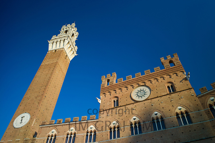 Il Torre del Mangia clock tower and the Palazzo Publico, in Piazza del Campo square, Siena, Italy