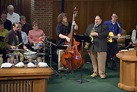 NWA Democrat-Gazette/BEN GOFF @NWABENGOFF<br /> A jazz quintet plays on Sunday Feb. 7, 2016 during the Jazz Communion service at First Presbyterian Church in Bentonville. The group is comprised of Dr. Andre Strydom on piano, Michael Lavender on bass, Max Richards on guitar, Jake Shaffer on drums and Matt Schatz on saxophone.
