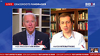 VIRTUAL -- MAY 22:  Screen capture of Vice President Joe Biden's first virtual grass roots fundraiser hosted by Pete Buttigieg as 35,000 people signed on and raised 1 million dollars May 22, 2020 Photo Credit : Star Shooter MediaPunch