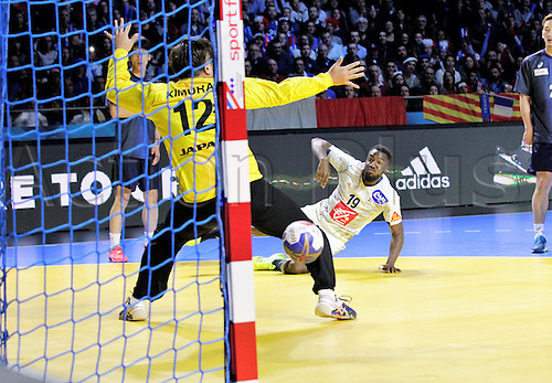 13.01.2017. Parc Exposition XXL, Nantes, France. 25th World Handball Championships France versus Japan. Luc Abalo France in action