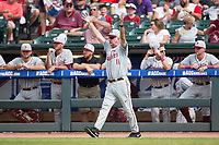Florida State Seminoles head coach Mike Martin (11) throws his hands in the air in disbelief at a call made at second base during the game against the Louisville Cardinals in Game Eleven of the 2017 ACC Baseball Championship at Louisville Slugger Field on May 26, 2017 in Louisville, Kentucky.  The Seminoles defeated the Cardinals 6-2 to advance to the semi-finals.  (Brian Westerholt/Four Seam Images)