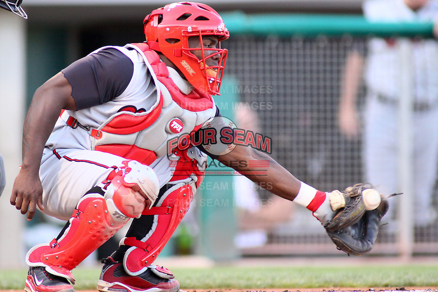 August 10, 2009: Angel Salome of the Nashville Sounds, Pacific Cost League Triple A affiliate of the Milwaukee Brewers, during a game at the Spring Mobile Ballpark in Salt Lake City, UT.  Photo by:  Matthew Sauk/Four Seam Images