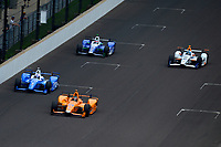 Verizon IndyCar Series<br /> Indianapolis 500 Race<br /> Indianapolis Motor Speedway, Indianapolis, IN USA<br /> Sunday 28 May 2017<br /> Fernando Alonso, McLaren-Honda-Andretti Honda, Scott Dixon, Chip Ganassi Racing Teams Honda, Takuma Sato, Andretti Autosport Honda, JR Hildebrand, Ed Carpenter Racing Chevrolet<br /> World Copyright: F. Peirce Williams<br /> LAT Images