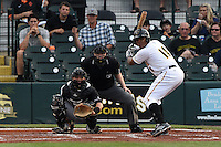 Bradenton Marauders first baseman Edwin Espinal (14) at bat in front of catcher Chris Hoo and umpire Dave Attrdige during a game against the Jupiter Hammerheads on April 18, 2015 at McKechnie Field in Bradenton, Florida.  Bradenton defeated Jupiter 4-1.  (Mike Janes/Four Seam Images)
