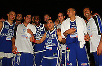 The Saints celebrate victory during the NBL Round 14 basketball match between the Wellington Saints and Auckland Stars at TSB Bank Arena, Wellington, New Zealand on Thursday 29 May 2008. Photo: Dave Lintott / lintottphoto.co.nz
